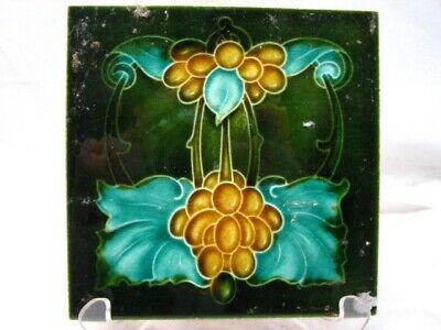 Early Majolica Glazed Ceramic Tile Art Nouveau Ornate Grapes Leaves Garden G