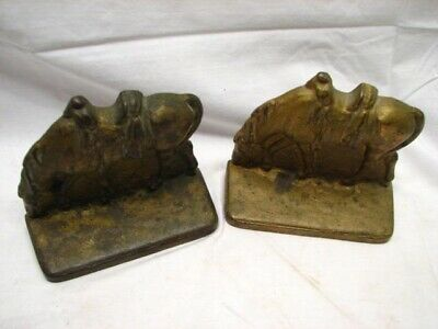 Pair Early Cast Iron Farm Ranch Horse with Saddle Bookends Equestrian Grazing