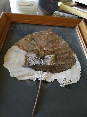 Original Hand painted Acrylic Framed Painting of a fox on a leaf  signed JR 2006