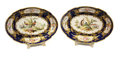 Incredibly Fine Pair English Hand Painted Porcelain Dishes 19th C. NO RESERVE!