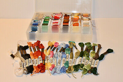 Lot of 122 Cross Stitch Embroidery Thread Floss, Bobbins and Skeins w/ Box