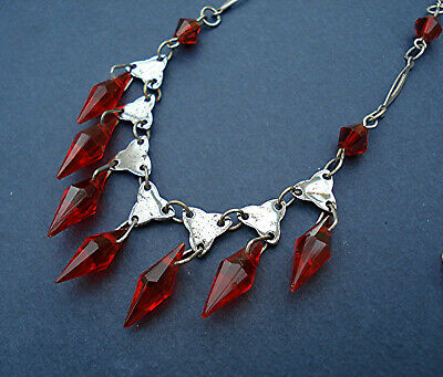 ART DECO RED MULTI DROPS CASCADE WIRED TREFOIL LINK NECKLACE VINTAGE 1930s VGC