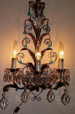 2 VTG TOLE GILT ITALY CHANDELIER WALL LIGHT SCONCES BLUE CRYSTAL FIXTURES 1950's