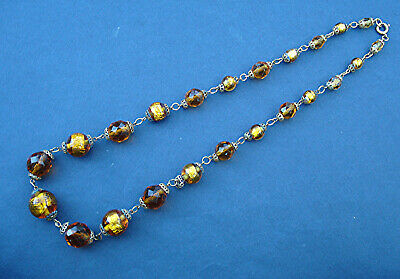 ART DECO NECKLACE GOLD FOIL & AMBER FACETED GLASS BEADS WIRED VINTAGE 1930s/40s
