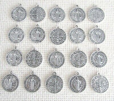 """Lot 20 Saint St. Benedict Charms Holy Medals 5/8"""" ~ SILVER finish"""
