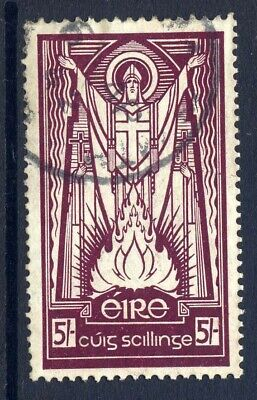 Ireland 1937 Definitive 5/- Maroon Fine Used With Part Dated Single Ring Cds