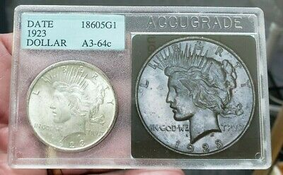 1923 Peace Silver Dollar -- UNCIRCULATED COIN!  Old School Accugrade / PCI L@@K!