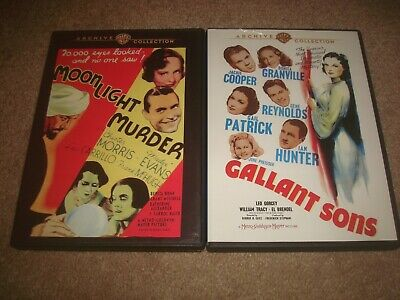 Moonlight Murder + Gallant Sons DVD LOT Warner Archive Collection Crime Mystery