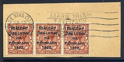 Ireland 1922 Harrison 1½D Red-Brown Coil Strip Of Three Fine Used On Piece