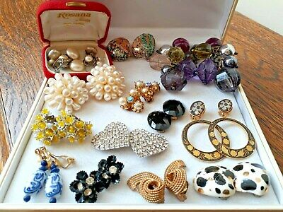 JOBLOT VINTAGE JEWELLERY 13 pairs CLIP ON EARRINGS RETRO STATEMENT PEARL HEART
