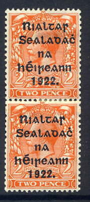 Ireland 1922 Harrison 2D Orange Vertical Coil Join Pair Fresh Mounted Mint