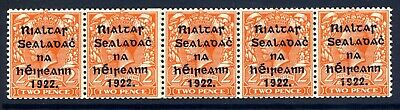 Ireland 1922 Harrison 2D Orange Coil Join Strip Of 5 Very Fine Unmounted Mint
