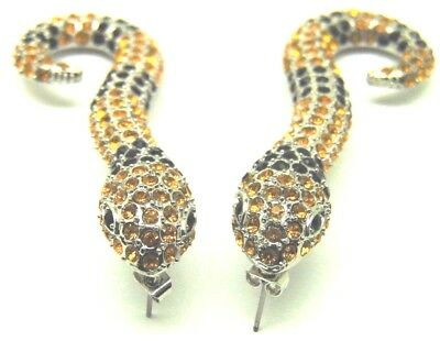 Rhinestone Snake Cobra Earrings Pierced Python Viper Venom Silver