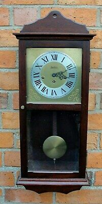"VINTAGE ""WESTMINSTER CHIMES"" WALL CLOCK in MAHOGANY CASE in nice working condt"