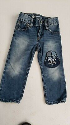 Boys Gap Blue Jeans W/Star Wars Patch Size 2 Toddler Straight Leg