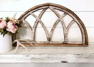 Cathedral window frame, farmhouse style reproduction painted wood window frame