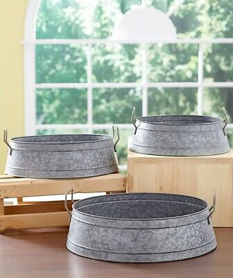 Set Of 3 Industrial Metal Storage Buckets Country Farmhouse Rustic Home Decor