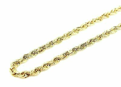 "10K Solid Yellow Gold Diamond Cut Rope Chain Pendant Necklace 16""- 30"" 1.5mm"