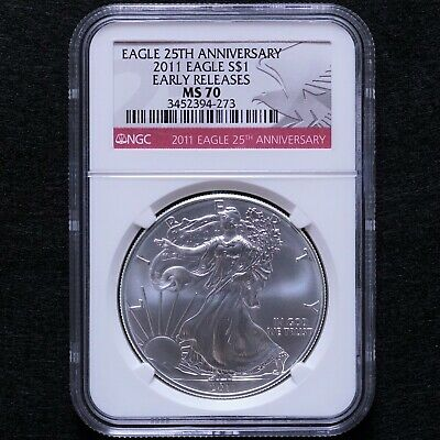 2011 25th Anniversary Silver American Eagle NGC MS70 Early Releases