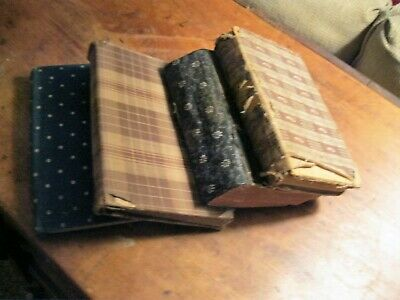ANTIQUE PRIMITIVE EARLY CALICO COVERED 19th C. SCHOOL BOOKS LOT OF 4 brown blue