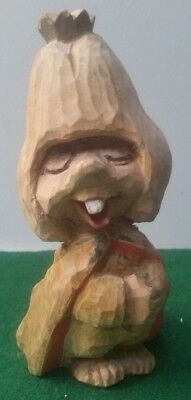 """Vintage Henning Hand Carved Wood Norwegian Troll - 5 3/4"""" Tall"""