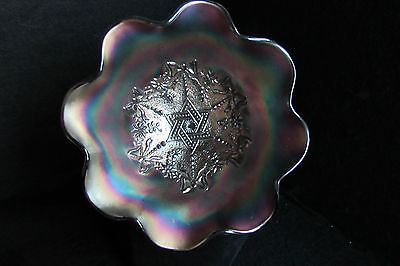Antique Northwood Amethyst / Purple Carnival Glass Bowl - Star Of David