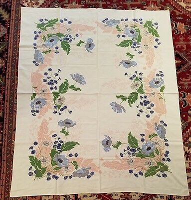 "Vintage Floral Print Tablecoth - 52"" By 63"" - Pale Blue Poppies & Gray Daisies"