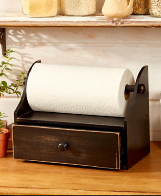 Paper Towel Holder Countertop Rustic Kitchen Décor Wood Drawer Black Red White