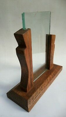 Vintage Art Deco Oak Wooden Photo Picture Frame Staggered Arms Glazed