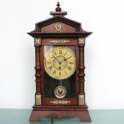 Antique German JUNGHANS CLOCK Mantel LARGE! TOP Condition! 1880s BRASS Features!