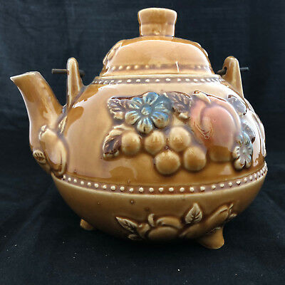 Vintage Round Ceramic Tea Pot Golden Brown Glazed Metal Coil Handle With Lid