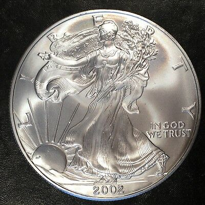 2002 Uncirculated American Silver Eagle US Mint Issue 1oz Pure Silver #G889