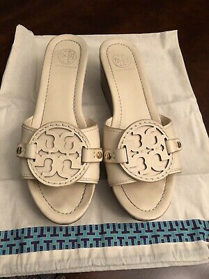 866adb6e403c Women s Tory Burch Ivory Wedge Madalena Sandals- Size 8.5- Pre-owned