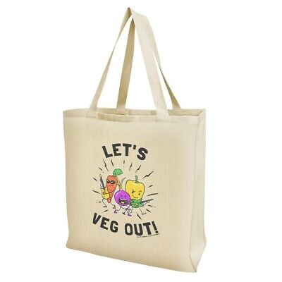 Let's Veg Out Vegetables Rock Relax Funny Humor Grocery Travel Reusable Tote Bag