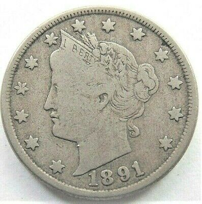 1891 UNITED STATES, Liberty Head Nickel grading VERY GOOD +.