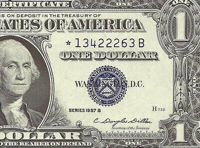 Unc 1957 B $1 Dollar Bill Star Silver Certificate Blue Seal Note Currency Money