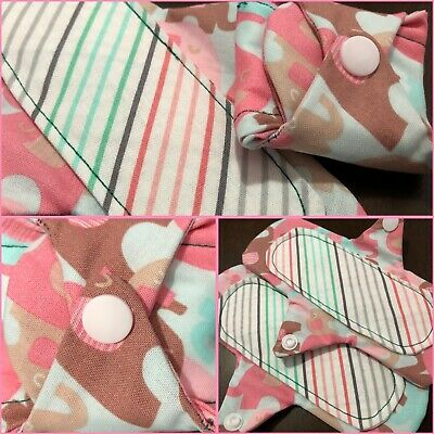2 Cloth Panty Liners Lightly Padded Cotton Fabric Reusable Pink Elephants Pads