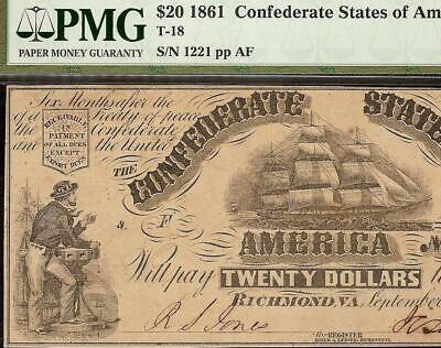 1861 $20 Dollar Confederate States Currency Civil War Ship Note Money T-18 Pmg