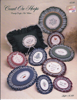 Pat Waters COUNT ON HOOPS I in Counted Cross Stitch Country Crafts Leaflet 88