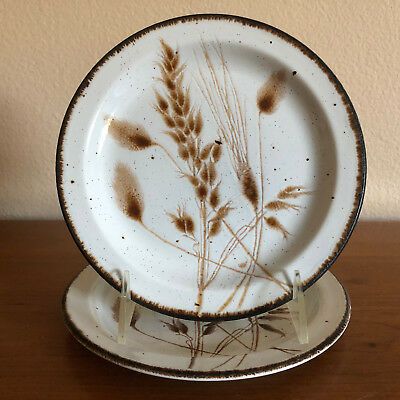 """Two (2) Midwinter Stonehenge Wild Oats Bread and Butter 7"""" Plates EUC England"""