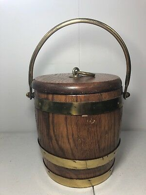 Vintage Primitive Wood Santiq Whiskey Barrel Style Bar Ice Bucket
