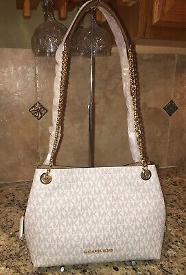 88fe8e58b330 Michael Kors Jet Set Item Medium Chain Messenger Shoulder Mk Vanilla  Signature