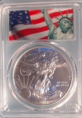 2018  American Silver Eagle ~ PCGS MS69 ~ First Strike ~  Flag Label