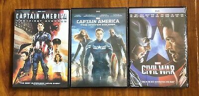 Captain America 1, 2, and 3 Trilogy Brand New 3-DVD Bundle Pack Free Shipping