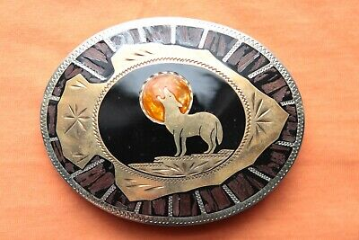 Vtg Johnson Held Moon Howling Wolf Arrowhead Inlay Western Belt Buckle