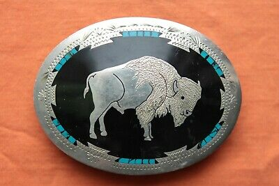 Vtg Johnson Held Buffalo Turquoise Inlay Hand Crafted Western Belt Buckle