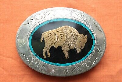 Vtg Johnson Held Buffalo Turquoise Brass Inlay Hand Crafted Western Belt Buckle