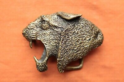 Vintage Hand Made Solid Brass Roaring Tiger Puma Panther Western Belt Buckle