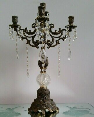 Vintage Brass and Crystal Candelabra