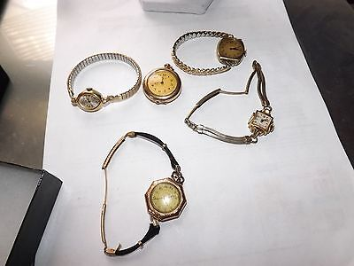 """Antique Vintage """"four"""" Ladies Watches """"one"""" Necklace/pocket Watch """"rolled Gold"""""""